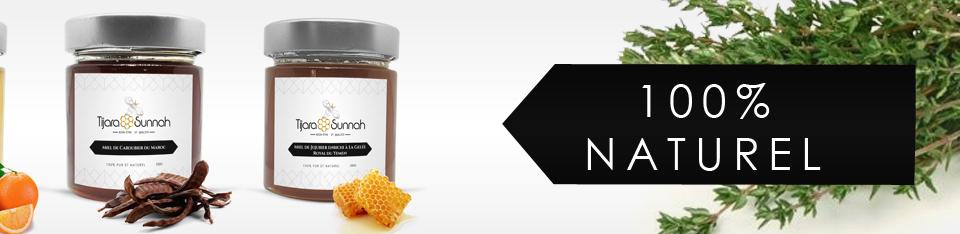 Banniere présentant miels 100% naturels